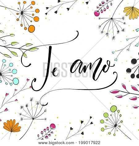 Te amo - i love you in Spanish language. Modern calligraphy for Valentine's day card. Vector typography and wild flowers.