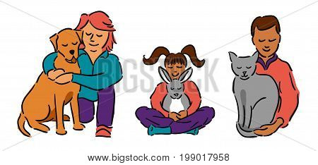Man and woman with brown haired girl, all hugging their pets