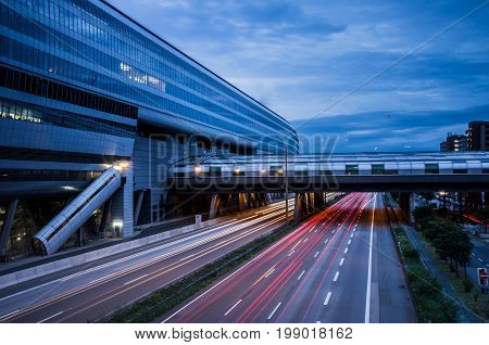 Frankfurt am Main, Germany - 29 July 2017 : Landmark of airport city Frankfurt, Frankfurt airport long distance train station.