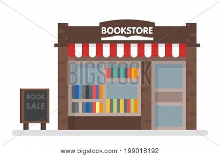 Bookstore Front Vector Illustration