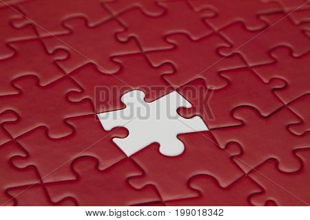 Red jigsaw puzzle and one piece white.