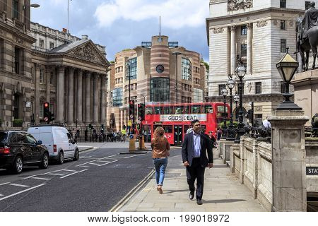 LONDON, GREAT BRITAIN - MAY 23, 2014: This is Mansion House Street on which the official residence of the Mayor of Mansion House is located.