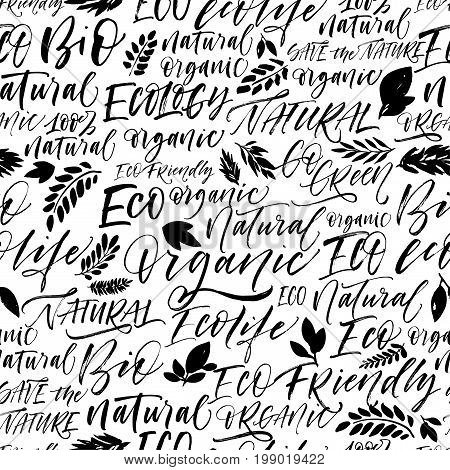 Seamless eco pattern. Set of eco phrases : ecology ecolife natural eco friendly green bio fresh and others. Ink illustration. Hand drawn ornament for wrapping paper.