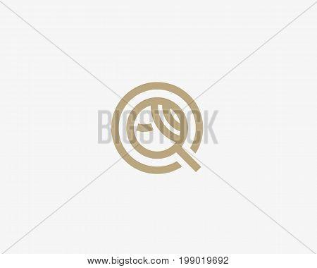 Search people vector logo icon. Finder web woman symbol logotype.