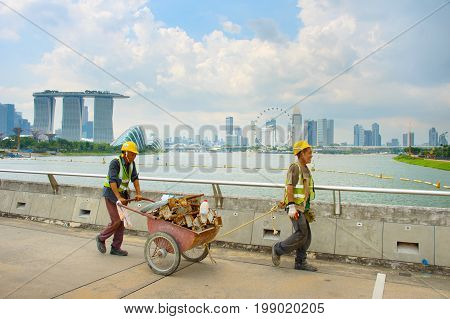 Workers In Singapore Marina Bay