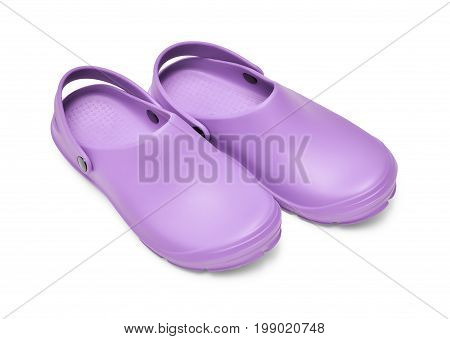 Purple garden clogs / beach clogs isolated on white background w/ path poster