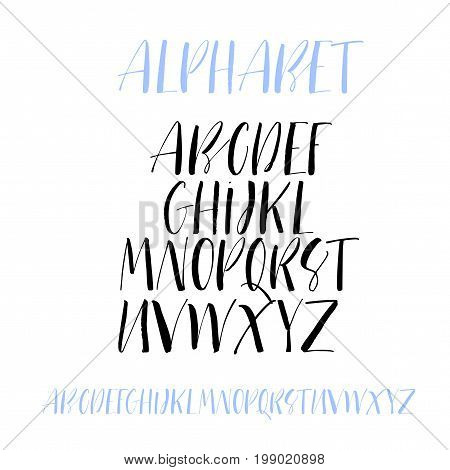 Handwritten lettering vector font alphabet. Collection of hand drawn alphabet letters. Ink illustration. Modern brush calligraphy. Isolated on white background.
