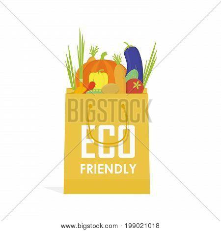 Go Green Paper Eco Food Bag Vector Illustration