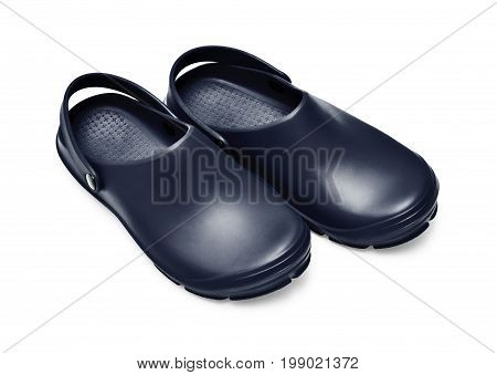 Black garden clogs / beach clogs isolated on white background w/ path poster