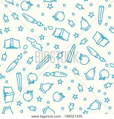 Pattern of back to school with thin line icons school supplies. Education background. Study elements in linear icon art style. Sale print. Vector illustration.