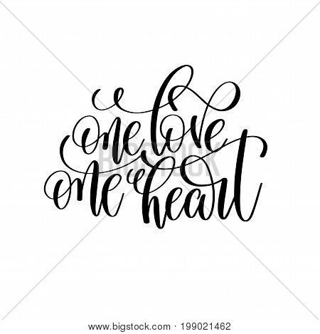 one love one heart black and white hand lettering script to wedding holiday invitation, celebration marriage phrase to greeting card, poster, quote design, calligraphy vector illustration