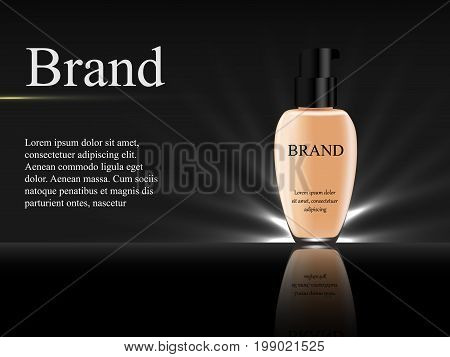 Concealer On A Dark Background With Rays Of Light, A Tube Of Light Flesh-colored With A Black Cap, 3