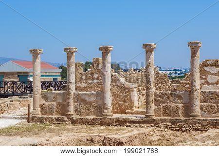 Ancient ruins at Archaeological park at Kato Paphos. Paphos, Cyprus