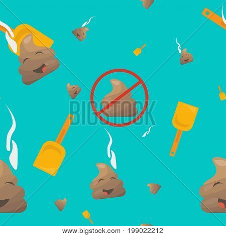 Poop Seamless Vector Pattern: poo emoji or shit character, shovel and no pooping sign. Trendy bizarre Poop or poo emoticon wallpaper.