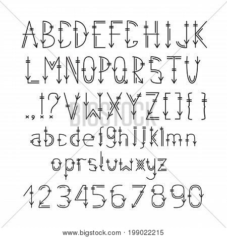 English alphabet in ethnic style. Letters and numbers in tribal style. Vector illustration