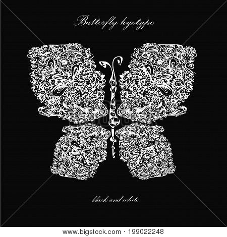 Butterfly lines silhouette logo stock art hand drawn