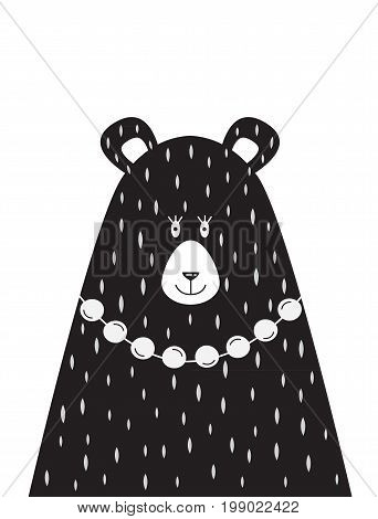 A children s poster with a picture of Mama bear in the Scandinavian style. Vector illustration in flat design