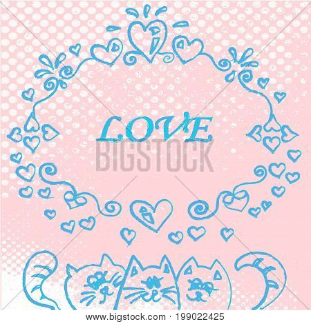 set of three vector cats with word love for stock