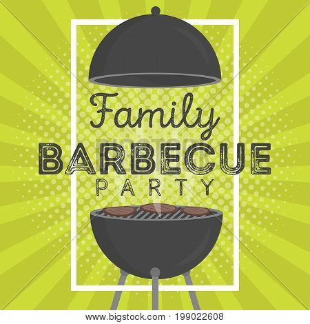 Lovely Vector Barbecue Party Invitation Design Template. Trendy Bbq Cookout Poster Design