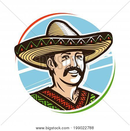 Portrait of happy smiling mexican in sombrero, logo or label. Cartoon vector illustration isolated on white background