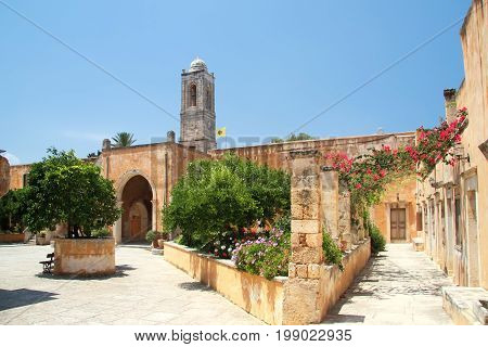 Entrance and courtyard of the monastery of the Holy Trinity (1612) on the island of Crete. Greece