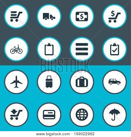 Elements Velocipede, Travel Suitcase, Online Transaction And Other Synonyms Vacation, International And Price.  Vector Illustration Set Of Simple Handing Icons.