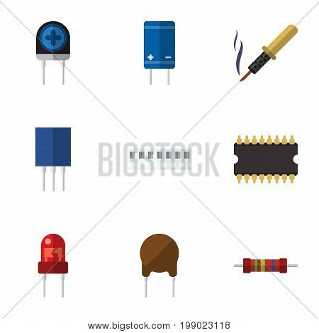 Flat Icon Appliance Set Of Triode, Microprocessor, Memory And Other Vector Objects