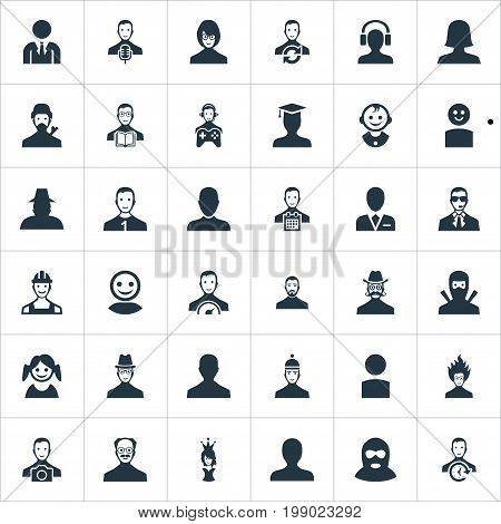 Elements Narrator, Office Worker, Agent And Other Synonyms Business, Student And Scientist.  Vector Illustration Set Of Simple Human Icons.