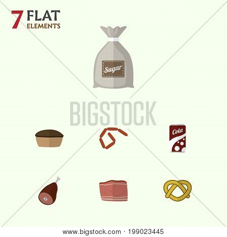 Flat Icon Meal Set Of Bratwurst, Sack, Fizzy Drink And Other Vector Objects