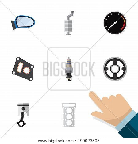 Flat Icon Parts Set Of Gasket, Belt, Silencer And Other Vector Objects