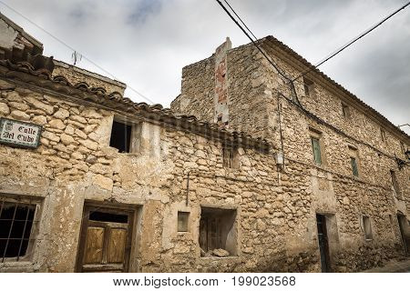 rustic ancient houses in Fuentes Claras town, province of Teruel, Aragon, Spain