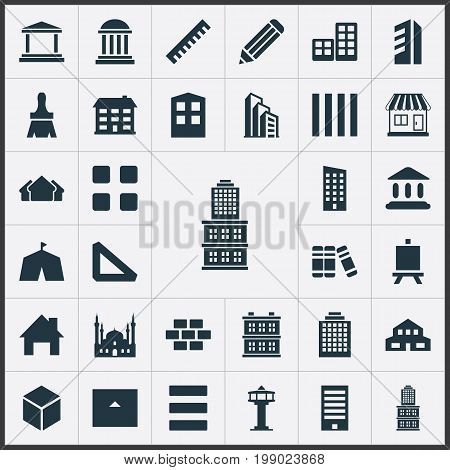 Elements Hotel, City Structure, Dispatcher Cabin And Other Synonyms Stone, Flat And Technical.  Vector Illustration Set Of Simple Construction Icons.