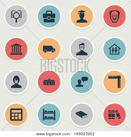 Elements Bookstore, Courthouse, Travel Truck And Other Synonyms Alma, Building And Machine.  Vector Illustration Set Of Simple Knowledge Icons.