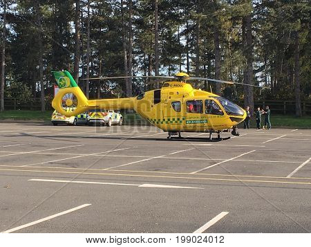 Hampshire Air Ambulace attending an emergency and Landing at M3 Services July 2017