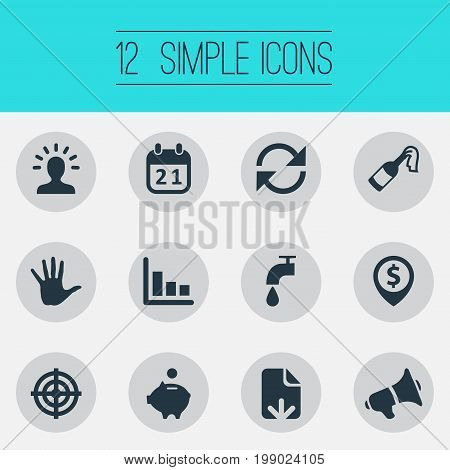 Elements Atm Point, Rotation, Megaphone And Other Synonyms Calendar, Champagne And Money.  Vector Illustration Set Of Simple Situation Icons.