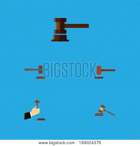 Flat Icon Hammer Set Of Legal, Defense, Government Building And Other Vector Objects