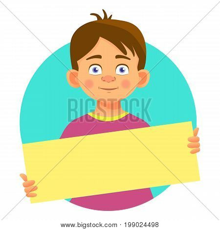 Boy holding blank poster. Blank message vector illustration. Hands holding blank paper