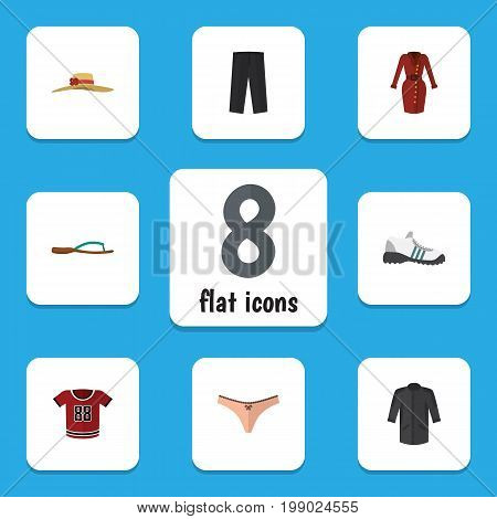 Flat Icon Garment Set Of Clothes, Pants, Lingerie And Other Vector Objects