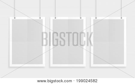 Empty Three White A4 Sized Vector Paper Mockup Hanging With Paper Clips. Show Your Flyers, Brochures