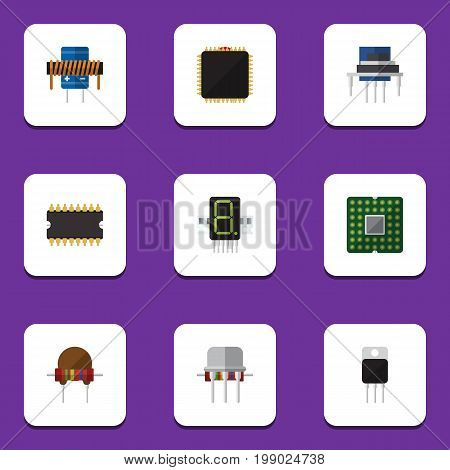 Flat Icon Appliance Set Of Microprocessor, Resistance, Resist And Other Vector Objects