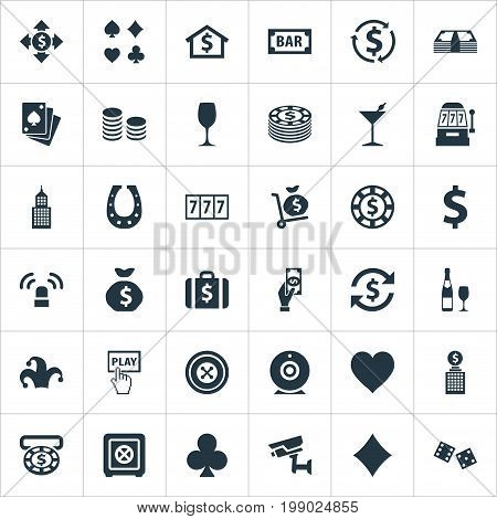 Elements Rate, Door Decoration, Sign And Other Synonyms Diamond, Wheel And Security.  Vector Illustration Set Of Simple Gambling Icons.
