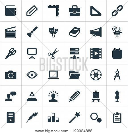 Elements Pen, Bullhorn, System Unit And Other Synonyms Camera, Photography And Chart.  Vector Illustration Set Of Simple Design Icons.