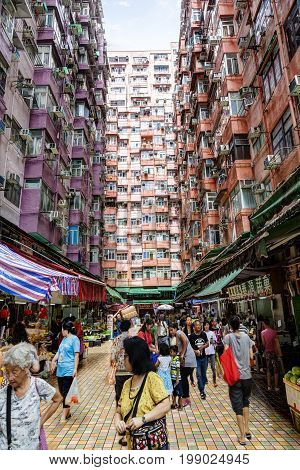 Crowded Street Market In Quarry Bay, Hong Kong