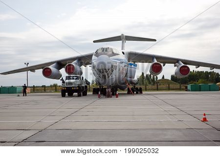 VORONEZH, RUSSIA - AUGUST 28, 2013: Cargo airplane IL-76M of the Russian airforce at airport Baltimore