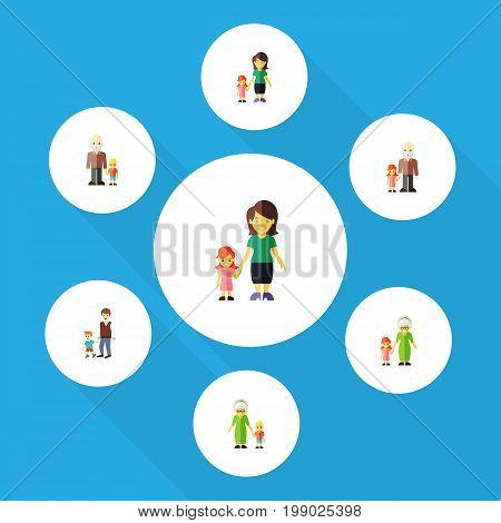 Flat Icon Family Set Of Grandma, Grandchild, Boys Vector Objects