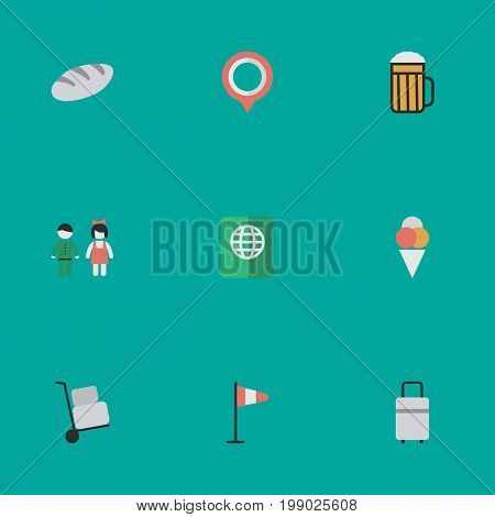 Elements Pub, Mark, Pair And Other Synonyms Hand, Mark And Bag.  Vector Illustration Set Of Simple Vacation Icons.