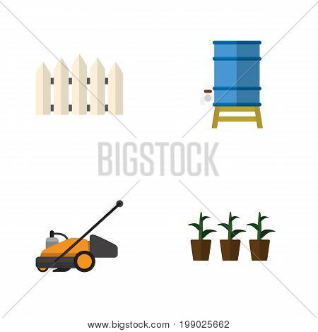 Flat Icon Garden Set Of Flowerpot, Wooden Barrier, Lawn Mower And Other Vector Objects
