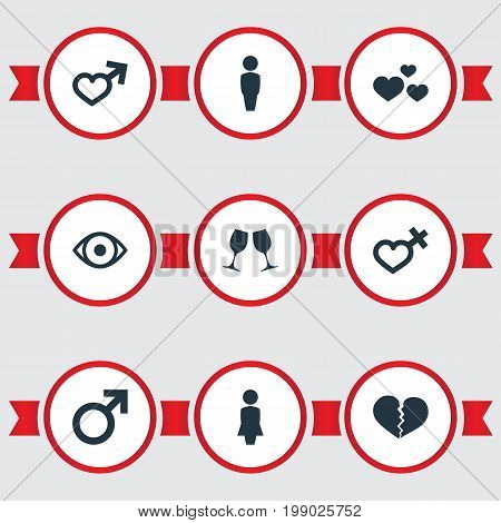 Elements Eye, Male, Heart And Other Synonyms Man, Wineglass And Engagement.  Vector Illustration Set Of Simple Couple Icons.