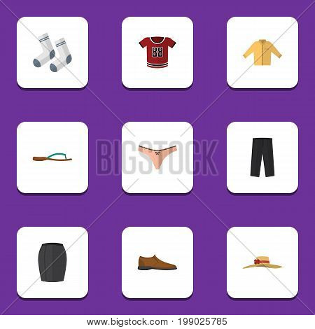 Flat Icon Garment Set Of T-Shirt, Male Footware, Elegant Headgear And Other Vector Objects