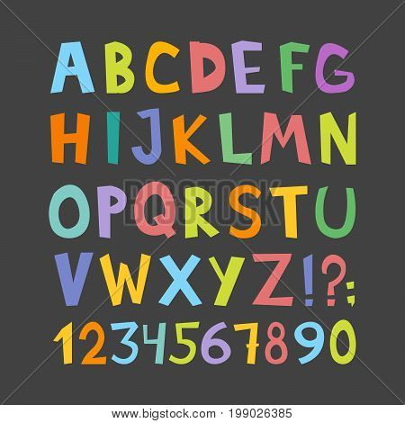 Vector Funny Comics Font. Hand Drawn Lowcase And Uppercase Colorful Cartoon English Alphabet Letters